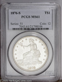 1876-S T$1 MS61 PCGS. Type One Obverse, Type Two Reverse. Wisps of barely noticeable light tan and cobalt-blue patina gr...