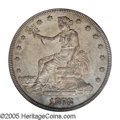 Trade Dollars: , 1878-CC T$1 AU58 PCGS. The mintage for the 1878-CC Trade dollar was a mere 97,000 pieces, and many of these were probably p...