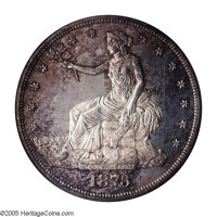 1873 T$1 PR64 Cameo PCGS. A very attractive specimen of this first year of issue in Proof. Toned with speckled gold and...