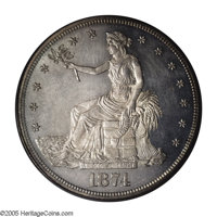 1874 T$1 PR64 Cameo PCGS. This early proof striking is impressively cameoed with brilliant fields that show an abundant...
