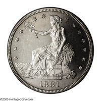 1881 T$1 PR64 Cameo PCGS. Sparkling and bright and without any appreciable toning on the obverse or reverse. The surface...