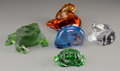 Art Glass:Lalique, Five Clear, Colored, and Frosted Glass Toad, Frog, Turtle, Cat, andConch Shell Figures, 20th century. Marks: Lalique, Fra...(Total: 5 Items)