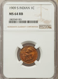 Indian Cents, 1909-S 1C MS64 Red and Brown NGC....