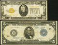 Small Size:Gold Certificates, Fr. 2402 $20 1928 Gold Certificate. Fine.. Fr. 855c $5 1914 Federal Reserve Note Fine.. ... (Total: 2 notes)