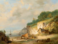 Fine Art - Painting, European:Antique  (Pre 1900), Nicolaas Johannes Roosenboom (Dutch, 1805-1880). CoastalScene. Oil on canvas. 26 x 33 inches (66.0 x 83.8 cm). Signedl...
