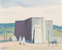 Louis Bassi Siegriest (American, 1899-1989) Taos Church Gouache and watercolor on board 5 x 6 inc