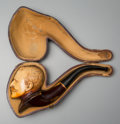 Other, A Cased Meerschaum Figural Pipe of Admiral George Dewey, early 20th century. 6-1/4 inches long (15.9 cm). ...