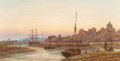Fine Art - Painting, European:Antique  (Pre 1900), Continental School (19th Century). Port Town. Oil on canvas.13-3/4 x 26 inches (34.9 x 66.0 cm). Indistinctly monogramm...