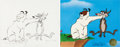 "Animation Art:Limited Edition Cel, Sam Sheepdog and Ralph Wolf ""Suspended Animation"" Limited Edition Cel AP #1/75 and Original Chuck Jones Drawing (Warner Brothe..."