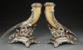 Decorative Arts, Continental:Other , A Pair of Continental Horn and Silver-Plated Cornucopia Vases, late19th century. 14-3/8 inches high x 10 inches wide (36.5 ... (Total:2 Items)