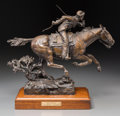 Sculpture, Lorenzo E. Ghiglieri (American, b. 1931). 1869 Pony Express, 1984. Bronze with brown patina. 13-1/2 inches (34.3 cm) hig...