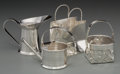 Silver Holloware, French:Holloware, Four Cartier Silver Miniatures: Vermouth Watering Can, Basket,Spirit Jug, and Shopping Bag, France, 20th centur...(Total: 4 Items)