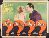 "This Thing Called Love (Pathé, 1929). Half Sheet (22"" X 28""). Comedy"