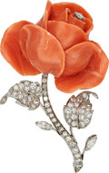 Estate Jewelry:Brooches - Pins, Coral, Diamond, Platinum Brooch. ...