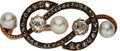 Estate Jewelry:Brooches - Pins, Antique Diamond, Cultured Pearl, Gold Brooch . ...