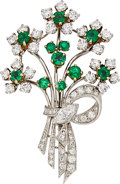 Estate Jewelry:Brooches - Pins, Diamond, Emerald, Platinum, Gold Brooch, McTiegue. ...