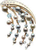 Estate Jewelry:Brooches - Pins, Diamond, Cultured Pearl, Aquamarine, Zircon, Gold Brooch. ...