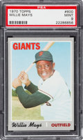 Baseball Cards:Singles (1970-Now), 1970 Topps Willie Mays #600 PSA Mint 9 - Only Two Higher. ...