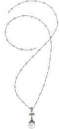 Estate Jewelry:Necklaces, Diamond, South Sea Cultured Pearl, Platinum, White Gold Pendant-Necklace. ...