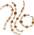 Estate Jewelry:Necklaces, Multi-Stone, Cultured Pearl, Gold Bracelets, Seaman Schepps. ... (Total: 4 Items)