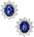 Estate Jewelry:Earrings, Sapphire, Diamond, White Gold Earrings, Assil. ...