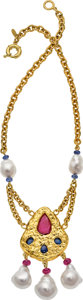 Estate Jewelry:Necklaces, South Sea Cultured Pearl, Ruby, Sapphire, Gold Necklace, Assael....