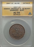 Coins of Hawaii , 1847 1C Hawaii Cent, Crosslet 4, 18 Berries, -- Damaged, Bent -- ANACS. AU55 Details. NGC Census: (45/218). PCGS Popula...