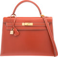 """Luxury Accessories:Bags, Hermes 32cm Brick Calf Box Leather Sellier Kelly Bag with Gold Hardware. B Square, 1998. Very Good Condition. 12.5"""" Width ..."""