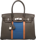 Luxury Accessories:Bags, Hermes Limited Edition 30cm Vert Bronze Fjord, Fauve BareniaLeather & Blue Thalassa Crinoline Club Birkin Bag withPalladium ...