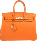 Luxury Accessories:Bags, Hermes 35cm Orange H Clemence Leather Birkin Bag with PalladiumHardware. M Square, 2009. Very Good to ExcellentCondition...