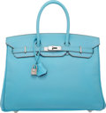 Luxury Accessories:Bags, Hermes Limited Edition Candy Collection 35cm Blue Celeste &Mykonos Epsom Leather Birkin Bag with Palladium Hardware. OSq...