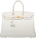 Luxury Accessories:Accessories, Hermes 35cm White Epsom Leather Birkin Bag with Gold Hardware. O Square, 2011. Very Good to Excellent Condition. 1...