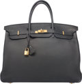Luxury Accessories:Bags, Hermes 40cm Black Clemence Leather Birkin Bag with Gold Hardware.P Square, 2012. Good to Very Good Condition.15....