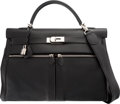 Luxury Accessories:Bags, Hermes Limited Edition 40cm Black Swift Leather Kelly Lakis Bagwith Palladium Hardware. N Square, 2010. Very GoodConditi...