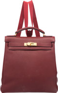 Luxury Accessories:Bags, Hermes 28cm Rouge H Fjord Leather Kelly Ado Backpack Bag with GoldHardware. E Square, 2001. Very Good Condition....