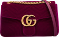 "Luxury Accessories:Bags, Gucci Purple Quilted Velvet Marmont Matelasse Bag. ExcellentCondition. 12"" Width x 7.5"" Height x 3"" Depth. ..."