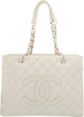 "Luxury Accessories:Bags, Chanel Metallic Champagne Gold Quilted Caviar Leather GrandShopping Tote Bag. Good to Very Good Condition. 13"" Width x10..."
