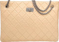 """Luxury Accessories:Bags, Chanel Metallic Gold Quilted Distressed Lambskin Leather Tote Bag.Very Good Condition. 14"""" Width x 10"""" Height x 3.5"""" Dept..."""