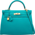 Luxury Accessories:Bags, Hermes 32cm Blue Paon Clemence Leather Retourne Kelly Bag with GoldHardware. X, 2016. Excellent to Pristine Condition...