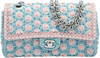 Chanel Limited Edition Exceptional Pieces Collection Blue, Pink & White Beaded Satin Medium Double Flap Bag Exc