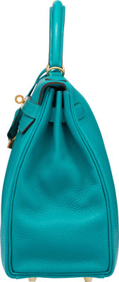 1ed42652a507 Hermes 32cm Blue Paon Clemence Leather Retourne Kelly Bag with