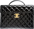 "Luxury Accessories:Bags, Chanel Black Quilted Patent Leather Briefcase Bag. Very GoodCondition. 15"" Width x 11"" Height x 2.5"" Depth. ..."