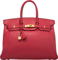 "Luxury Accessories:Bags, Hermes 35cm Rouge Vif Courchevel Leather Birkin Bag with GoldHardware. Y Circle, 1995. Very Good Condition. 14"" Width x1..."