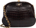 """Luxury Accessories:Bags, Chanel Shiny Brown Crocodile Evening Bag. Good to Very GoodCondition. 8.5"""" Width x 6.5"""" Height x 3"""" Depth. ..."""