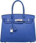 Luxury Accessories:Bags, Hermes 30cm Blue Electric Togo Leather Birkin Bag with Palladium Hardware. O Square, 2011. Excellent Condition. 12...