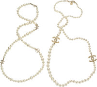 """Chanel Set of Two; Gold & White Glass Pearl Necklaces Excellent Condition 0.5"""" Width x 40"""" Length"""