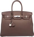 """Luxury Accessories:Bags, Hermes 35cm Chocolate Togo Leather Birkin Bag with PalladiumHardware. Q Square, 2013. Excellent Condition. 14""""Wi..."""