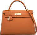"""Luxury Accessories:Bags, Hermes 32cm Cognac Epsom Leather Sellier Kelly Bag with GoldHardware. J Square, 2006. Very Good Condition.12.5"""" ..."""