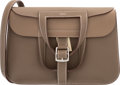"Luxury Accessories:Bags, Hermes 31cm Etoupe Clemence Leather Halzan Bag with PalladiumHardware. X, 2016. Pristine Condition. 12"" Width x 8""Height..."
