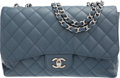 "Luxury Accessories:Bags, Chanel Blue Quilted Caviar Leather Jumbo Single Flap Bag. VeryGood Condition. 12"" Width x 8"" Height x 3"" Depth. ..."
